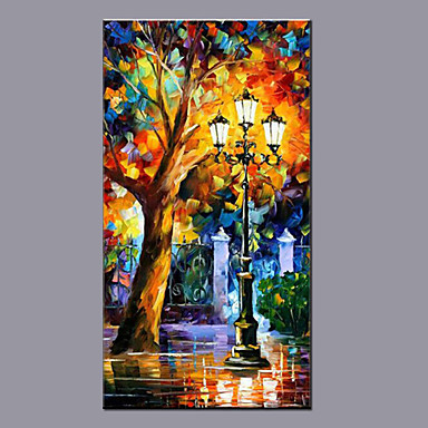 מצויר ביד נוף אבסטרקט אנכי,מודרני פנל אחד בד ציור שמן צבוע-Hang For קישוט הבית