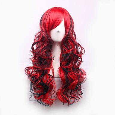 Pelucas sintéticas Rizado / Ondulado Medio Corte asimétrico Pelo sintético Entradas Naturales Rojo Peluca Mujer Larga Sin Tapa