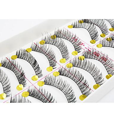עין / ריס 10pcs מורחב / מועצם איפור יום / איפור למסיבה ריסים מלאים / שתי וערב / עבה 1cm-1.5cm