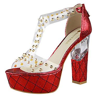 Mulheres Sapatos Couro Ecológico Verão Salto Robusto / Salto de bloco Azul / Dourado / Champanhe / Sandálias de calcanhar