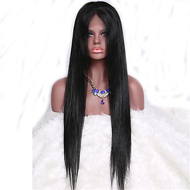 Cheveux humains Full Lace Perruque Droit 130% Densité 100 % Tissée Main Perruque afro-américaine Ligne de Cheveux Naturelle Court Moyen