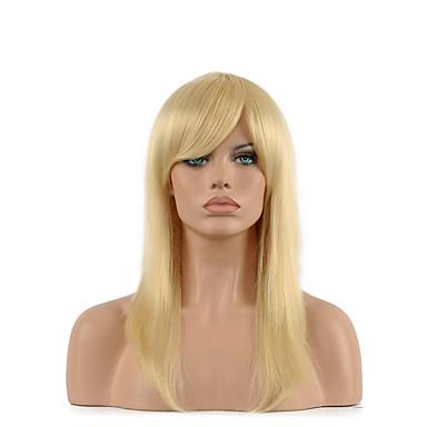 Damen Synthetische Perücken Kappenlos Mittel Glatt Blondine Kostüm Perücken