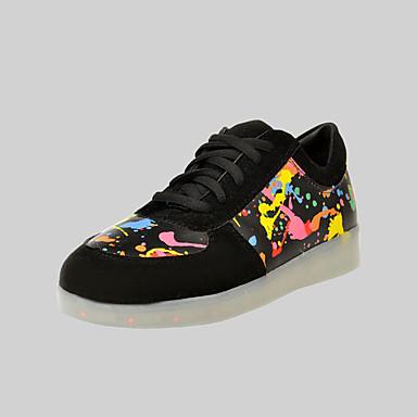 Naiset Miehet Kengät Tekonahka Kevät Kesä Syksy Välkkyvät kengät Tasapohja Solmittavat varten Urheilullinen Kausaliteetti Musta