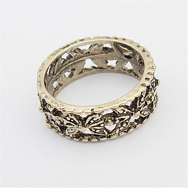Anéis Mulheres / Homens / Casais / Unisexo Sem Pedra Liga Liga 4.0 / 6 Dourado / Prata