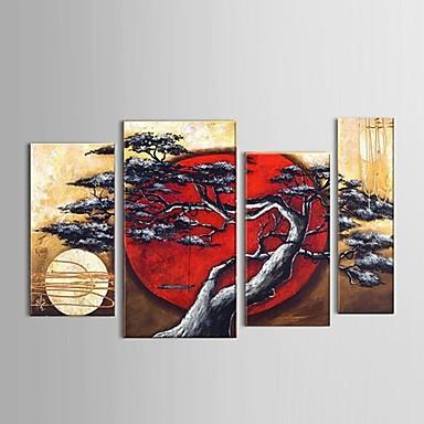 handbemalte abstrakte Mond Baum schwingen Landschaft Ölgemälde Restaurant Dekor mit gestreckten Rahmen