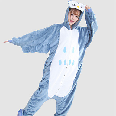 Kigurumi Pijama Baykuş Onesie Pijama Kostüm Fanila Tüylü Kumaş Mavi Cosplay İçin Hayvan Sleepwear Karikatür cadılar bayramı Festival /