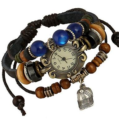 Mulheres Relógio de Moda Bracele Relógio Digital Couro Banda Boêmio Marrom Marron