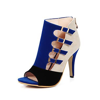 Mulheres Sapatos Flanelado Primavera / Verão Sapatos clube Saltos Salto Agulha Peep Toe Presilha Preto / Vermelho / Azul / Festas & Noite