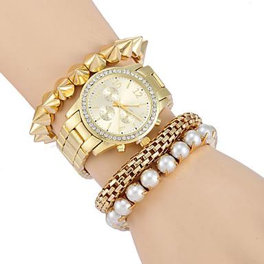 Damen Modeuhr Simulierter Diamant Uhr Quartz Armbanduhren für den Alltag Legierung Band Luxuriös Gold