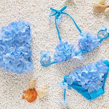 baratos Roupas de Banho para Meninas-Bébé Para Meninas Floral Praia Floral Sem Manga Curto Curto Roupa de Banho Verde