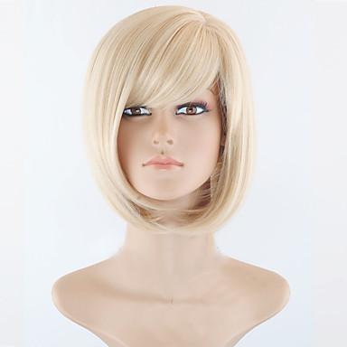 Syntetiske parykker Rett Bobfrisyre / Kort bob / Med lugg Syntetisk hår Side del Blond Parykk Dame Kort Halloween parykk / Karneval Parykk