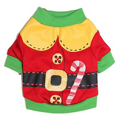 Kat Hund Kostume Trøye/T-skjorte Hundeklær Tegneserie Rød Grønn Bomull Kostume For kjæledyr Herre Dame Søtt Cosplay Jul
