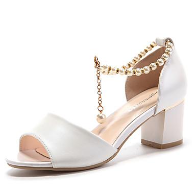 Damen Schuhe Kunstleder Frühling Sommer Herbst Niedriger Absatz Perle Glitter Für Hochzeit Kleid Weiß Rosa