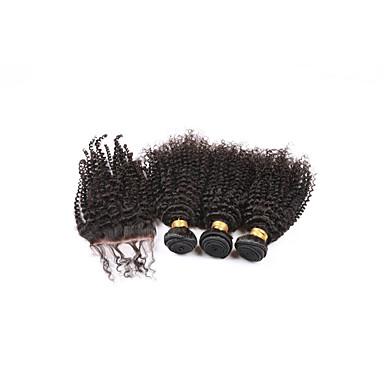Hair Vetülék, zárral Brazil haj Kinky Curly 6 hónap 4 darab haj sző