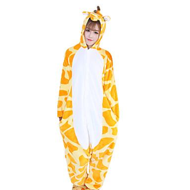 Erwachsene Kigurumi-Pyjamas Giraffe Pyjamas-Einteiler Korallenfleece Orange Cosplay Für Herren und Damen Tiernachtwäsche Karikatur Halloween Fest / Feiertage