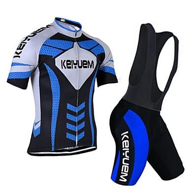 KEIYUEM Rövid ujjú Kerékpáros dzsörzé kantáros nadrággal Uniszex Bike Ruházati kollekciók/ÖltönyökLégáteresztő Gyors szárítás Porbiztos