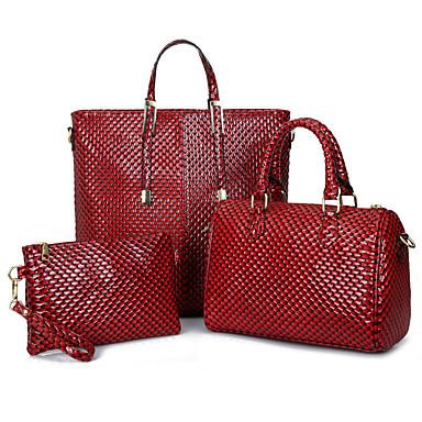 Mulheres Bolsas Couro Ecológico Conjuntos de saco 3 Pcs Purse Set Ziper para Casual Todas as Estações Dourado Preto Vermelho Amarelo