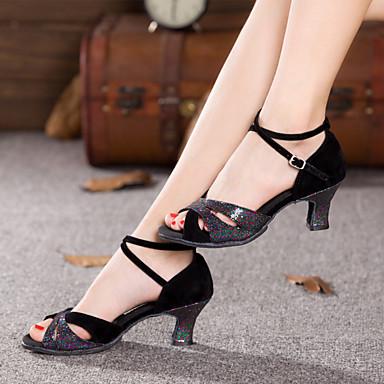 Shall We® Women's Sparkling Glitter / Velvet Latin Shoes / Salsa Shoes Sparkling Glitter / Ruffles / Ruched Sandal / Heel Cuban Heel Non Customizable Silver / Blue / Purple / Indoor / EU42
