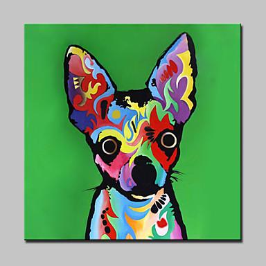 nagy olajfestmény kézzel festett színes kutya állat vászon kép falra művészeti lakberendezés kerettel