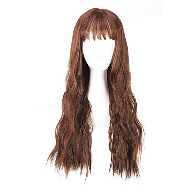 Damen Synthetische Perücken Kappenlos Lang Glatt Yaki-Stil Braun Kostüm Perücken