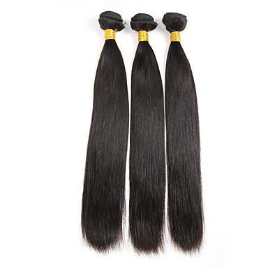 baratos Extensões de Cabelo Natural-3 pacotes Cabelo Brasileiro Liso 10A Cabelo Virgem Cabelo Humano Ondulado Tramas de cabelo humano Extensões de cabelo humano / Reto