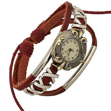 Damen Modeuhr Armband-Uhr digital Leder Band Böhmische Rot Rot
