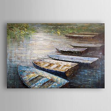 handgemaltes Ölgemälde Landschaft Boote am Strand mit gestreckten Rahmen 7 Wand ARTS®