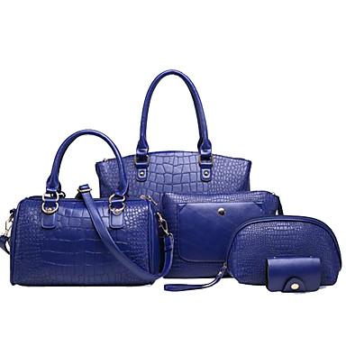 Damen Taschen PU 5 Stück Geldbörse Set für Normal Winter Blau Schwarz Rote