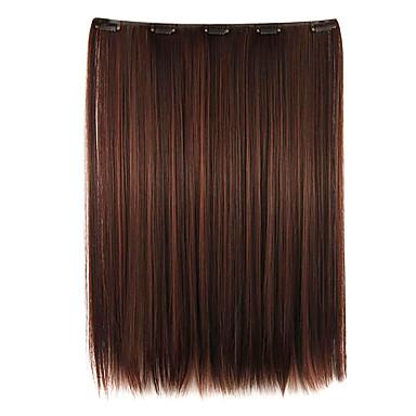 Perücke kastanienbraun 52cm hohe Temperaturdrahtlänge glattes Haar synthetische Haarverlängerung