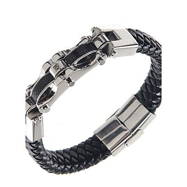 Homme Bracelets Rigides Mode Classique Acier inoxydable Cuir Bijoux Pour Quotidien Décontracté