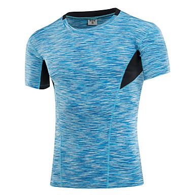 Herre Crew-hals T-skjorte til jogging - Gul, Rød, Blå sport T-Trøye / Topper Trening, Treningssenter, Trene Sportsklær Fort Tørring, Anvendelig, Pustende Elastisk / Svettereduserende