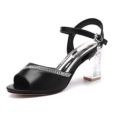 Elől kivágott Lábujj-Vastag-Női cipő-Szandál-Esküvői / Irodai / Party és Estélyi / Ruha / Alkalmi-Szintetikus-Fekete / Fehér