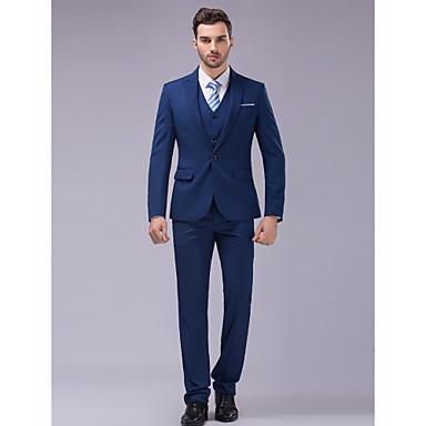 2d784c29be0e Blå Smal passform Kostym - Smalt spetsig Singelknäppt 1 Knapp / kostymer