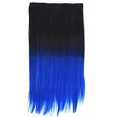 26-Zoll-Clip in der synthetischen schwarzen bule Farbe gerade Haarverlängerungen mit 5 Clips