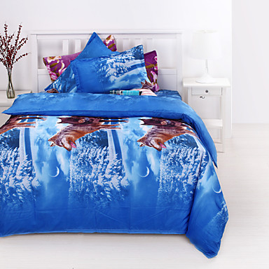 Four Piece 3D Animal Wolf Pattern Full Duvet Cover Sets