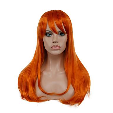 Synthetische Perücken / Perücken Glatt Synthetische Haare Rot Perücke Damen Lang Kappenlos Orange