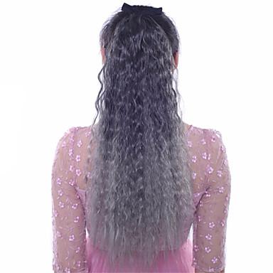 Extensiones Naturales Extensiones sintéticas Ondulado Pelo sintético Larga La extensión del pelo Con Clip Ombre 1pc Mujer Diario
