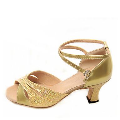 baratos Sapatos de Salsa-Mulheres Sapatos de Dança Glitter Sapatos de Dança Latina / Sapatos de Salsa Presilha Sandália Salto Robusto Não Personalizável Prateado / Azul / Dourado / Camurça / EU42