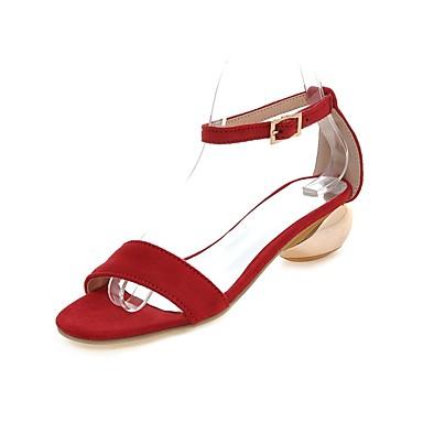 Damen Schuhe Kunstleder Frühling Sommer Herbst Knöchelriemen Blockabsatz Mit Für Normal Kleid Schwarz Rot Rosa