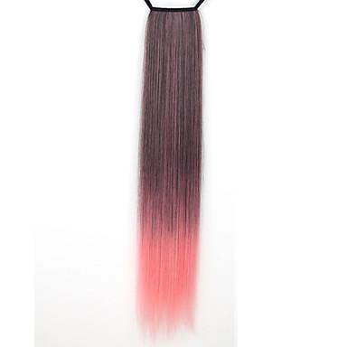 24 дюймы Длинные Наращивание волос Прямой Классика Повседневные Высокое качество Конские хвостики