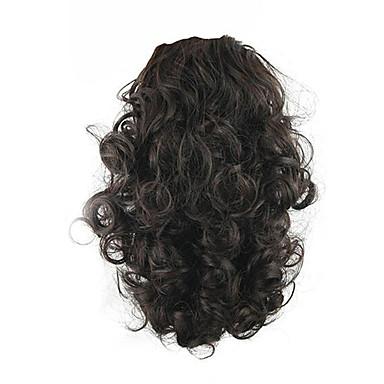 Ruivo Escuro Com Cordão Encaracolado Rabos-de-Cavalo Sintético Pedaço de cabelo Alongamento