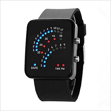 Herrn Damen Paar digital Armbanduhr Touchscreen LED Caucho Band Charme Modisch Schwarz Weiß Blau Lila