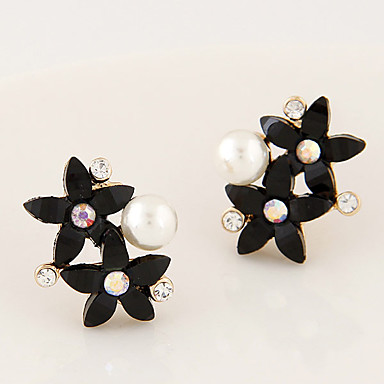 עגילים צמודים אופנתי מותאם אישית Flower Shape שחור בז' תכשיטים ל Party יומי קזו'אל 1 זוג