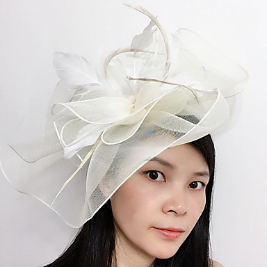 Tulle Feather Net fascinators headpiece klassisk feminin stil