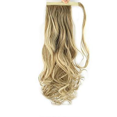 Mit Clip Wellen Locken Pferdeschwanz Umwickeln Synthetik Haarstück Haar-Verlängerung 24 Zoll Strawberry Blonde / Hellblond