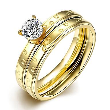 Ringe Modisch Hochzeit / Party / Alltag / Normal Schmuck Zirkon / Titanstahl / vergoldet Set 1 Set,6 / 7 / 8 / 9 Goldfarben / Weiß