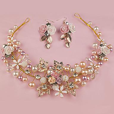 Damen Blumenmädchen Legierung Künstliche Perle Kopfschmuck-Hochzeit Besondere Anlässe im Freien Stirnbänder 2 Stück