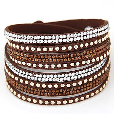 Damen Leder Strass Diamantimitate Wickelarmbänder - Modisch Doppelschicht Europäisch Schwarz Braun Rot Armbänder Für Party Alltag
