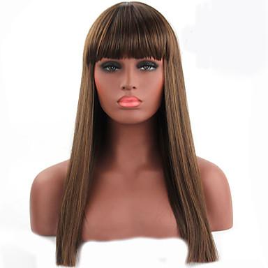 natürliche lange Länge braune Farbe populäre synthetische Perücke für Frau