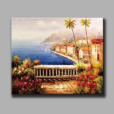 מצויר ביד L ו-scape אופקי, ים- תיכוני פסטורלי סגנון ארופאי ציור שמן צבוע-Hang קישוט הבית פנל אחד